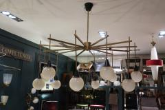 A brass and opaline ceiling lamp in the style of Stilnovo Italy 60 - 776618