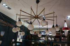 A brass and opaline ceiling lamp in the style of Stilnovo Italy 60 - 776619
