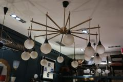 A brass and opaline ceiling lamp in the style of Stilnovo Italy 60 - 776620