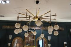 A brass and opaline ceiling lamp in the style of Stilnovo Italy 60 - 776621