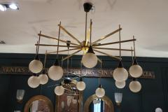 A brass and opaline ceiling lamp in the style of Stilnovo Italy 60 - 776624
