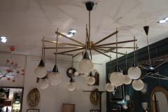 A brass and opaline ceiling lamp in the style of Stilnovo Italy 60 - 776625