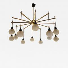 A brass and opaline ceiling lamp in the style of Stilnovo Italy 60 - 779636