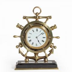 A brass ship s novelty clock presented to Captain Tynte F Hammill RN - 1838158