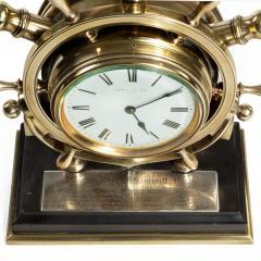 A brass ship s novelty clock presented to Captain Tynte F Hammill RN - 1838161