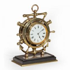 A brass ship s novelty clock presented to Captain Tynte F Hammill RN - 1838165