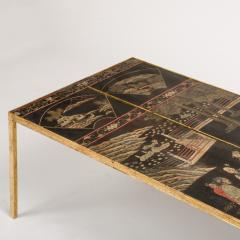 A chinoiseries top coffee table with leather trim on gilt metal base - 1681122
