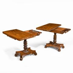 A companion pair of William IV flame mahogany card tables - 1849223