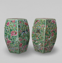 A decorative pair of Chinese nineteenth Century famille rose garden stools - 1779371