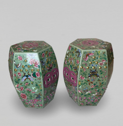 A decorative pair of Chinese nineteenth Century famille rose garden stools - 1779372