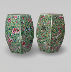 A decorative pair of Chinese nineteenth Century famille rose garden stools - 1779379