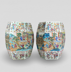 A decorative pair of export Canton garden stools from the mid 19th Century - 1783719