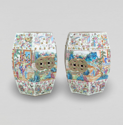 A decorative pair of export Canton garden stools from the mid 19th Century - 1783720