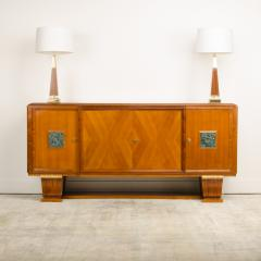 A fine French 1940s walnut veneer with gilded carved wood details sideboard - 2033426