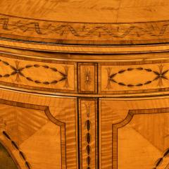 A fine Victorian Sheraton revival West Indian satinwood demi lune commode - 1089975