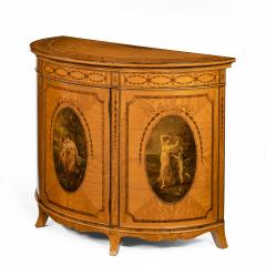 A fine Victorian Sheraton revival West Indian satinwood demi lune commode - 1089979