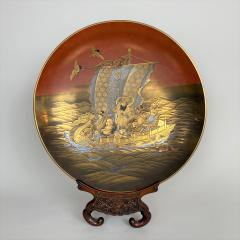 A fine lacquer dish depicting the Lucky Gods aboard the Takarabune - 1443946