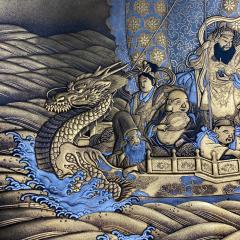 A fine lacquer dish depicting the Lucky Gods aboard the Takarabune - 1443951