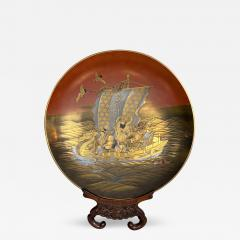 A fine lacquer dish depicting the Lucky Gods aboard the Takarabune - 1446493