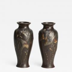 A fine pair of miniature bronze Antique Japanese vases - 1298540