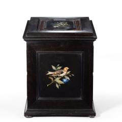 A fine quality ebony bijouterie table cabinet showing Cavalry Church - 1173195