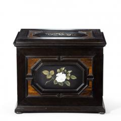A fine quality ebony bijouterie table cabinet showing Cavalry Church - 1173196