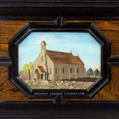 A fine quality ebony bijouterie table cabinet showing Cavalry Church - 1173198