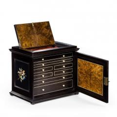 A fine quality ebony bijouterie table cabinet showing Cavalry Church - 1173199