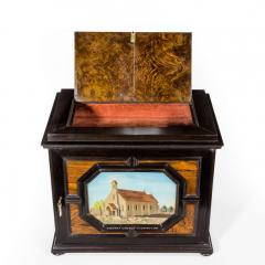 A fine quality ebony bijouterie table cabinet showing Cavalry Church - 1173200