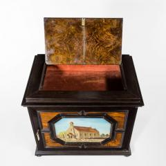 A fine quality ebony bijouterie table cabinet showing Cavalry Church - 1173201