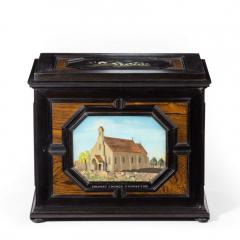 A fine quality ebony bijouterie table cabinet showing Cavalry Church - 1173202