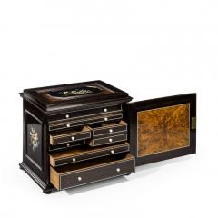 A fine quality ebony bijouterie table cabinet showing Cavalry Church - 1173204