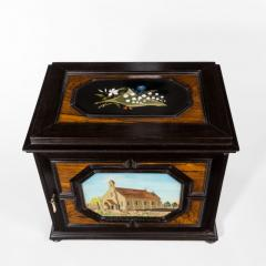 A fine quality ebony bijouterie table cabinet showing Cavalry Church - 1173205