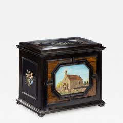 A fine quality ebony bijouterie table cabinet showing Cavalry Church - 1173450