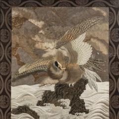 A large Meiji period silk embroidery of a sea eagle - 826698