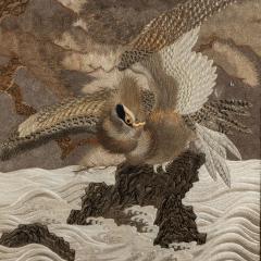 A large Meiji period silk embroidery of a sea eagle - 826699