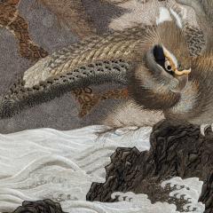A large Meiji period silk embroidery of a sea eagle - 826702