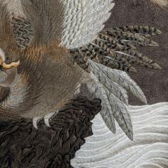 A large Meiji period silk embroidery of a sea eagle - 826703