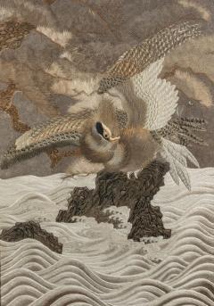 A large Meiji period silk embroidery of a sea eagle - 870407