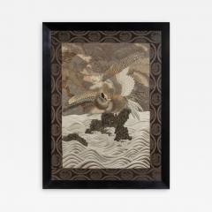 A large Meiji period silk embroidery of a sea eagle - 870408