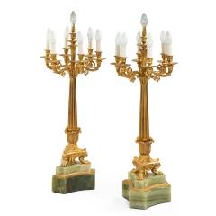 A large pair of onyx and ormolu lamps - 1443861