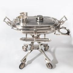A large silver plate carving trolley or roast beef trolley by Erguis - 1156345