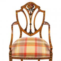 A late Victorian Sheraton revival painted satinwood armchair - 1176058