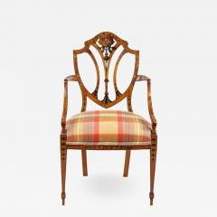 A late Victorian Sheraton revival painted satinwood armchair - 1176539