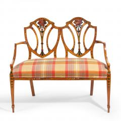A late Victorian Sheraton revival painted satinwood two seater settee - 1189497