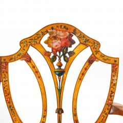 A late Victorian Sheraton revival painted satinwood two seater settee - 1189498