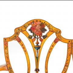 A late Victorian Sheraton revival painted satinwood two seater settee - 1189499