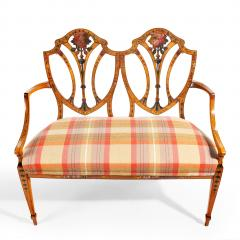 A late Victorian Sheraton revival painted satinwood two seater settee - 1189500
