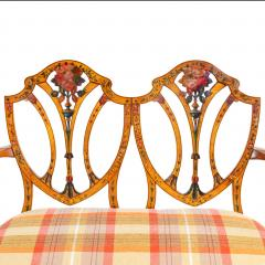 A late Victorian Sheraton revival painted satinwood two seater settee - 1189501
