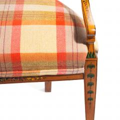 A late Victorian Sheraton revival painted satinwood two seater settee - 1189502